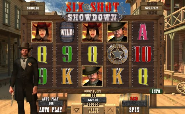 Play slots at Saturn: Saturn featuring the Video Slots Six Shot Showdown with a maximum payout of $12,500