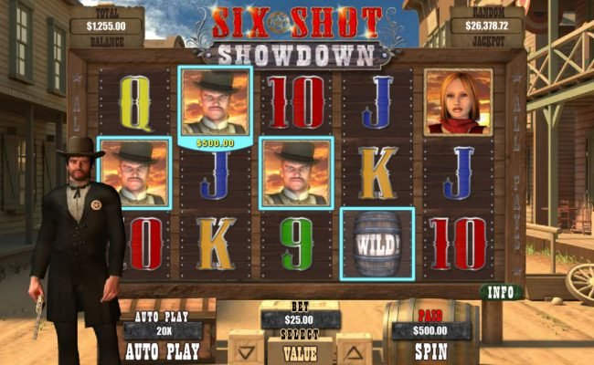 Slots of Vegas featuring the Video Slots Six Shot Showdown with a maximum payout of $12,500