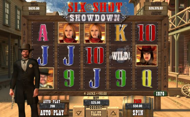 Pure Vegas featuring the Video Slots Six Shot Showdown with a maximum payout of $12,500