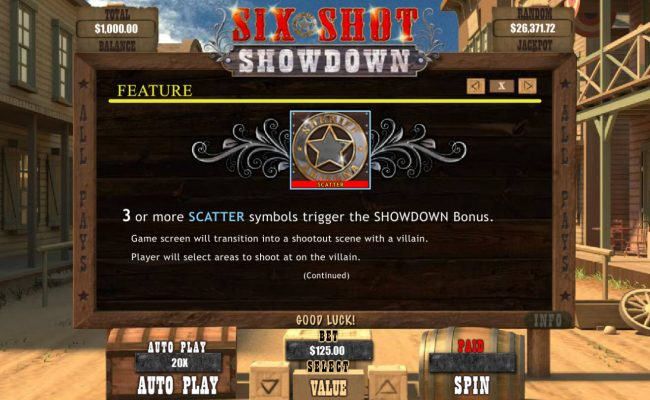 Wild Vegas featuring the Video Slots Six Shot Showdown with a maximum payout of $12,500