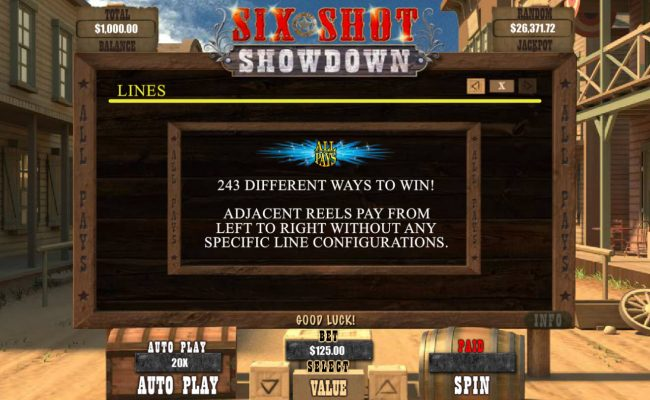 Plenty Jackpots featuring the Video Slots Six Shot Showdown with a maximum payout of $12,500
