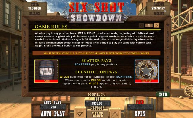 Six Shot Showdown :: Wild and Scatter Symbol Rules