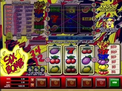 Play slots at Lucky Nugget: Lucky Nugget featuring the Video Slots Six Bomb with a maximum payout of $40,000