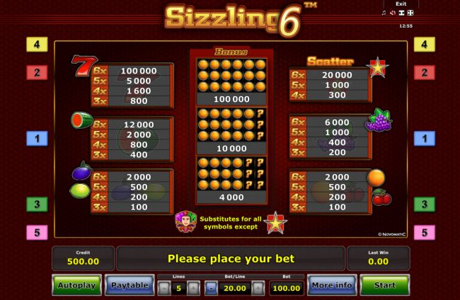 AC Casino featuring the Video Slots Sizzling 6 with a maximum payout of $100,000
