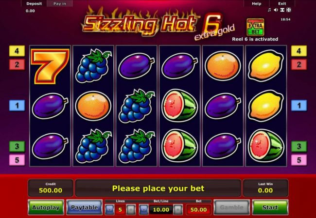 Play slots at Sky Vegas: Sky Vegas featuring the Video Slots Sizzling Hot 6 Extra Gold with a maximum payout of $75,000