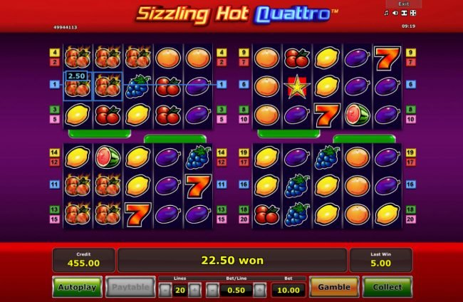 Sizzling Hot Quattro :: Multiple winning paylines