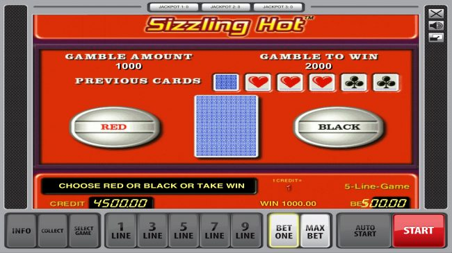 Sizzling Hot :: Red or Black Gamble feature