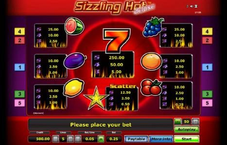 Quasar featuring the Video Slots Sizzling Hot Deluxe with a maximum payout of $100,000