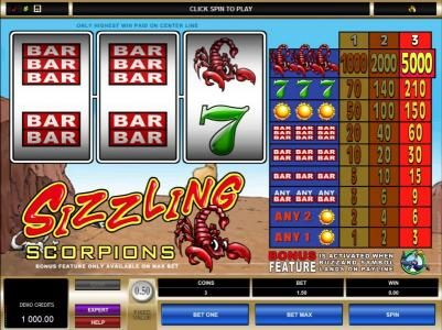 Casino Share featuring the Video Slots Sizzling Scorpions with a maximum payout of $7,500