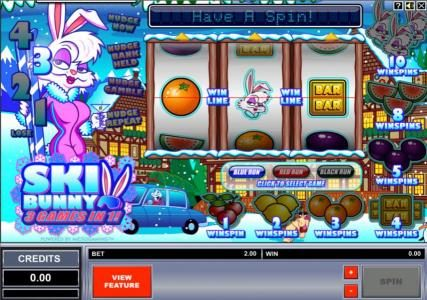 Play slots at Gaming Club: Gaming Club featuring the Video Slots Ski Bunny with a maximum payout of $5,000