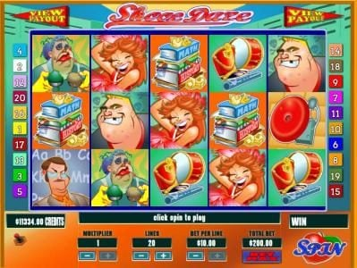 Main game board featuring five reels and 20 paylines with a Jackpot max payout