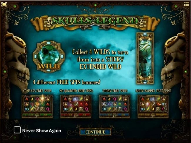 Skulls of Legend :: Collect four wilds to turn them into sticky extended wild