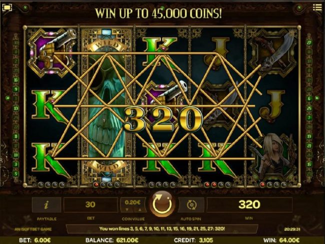 Skulls of Legend :: Stickey wild re-spin triggers a 320 coin big win.