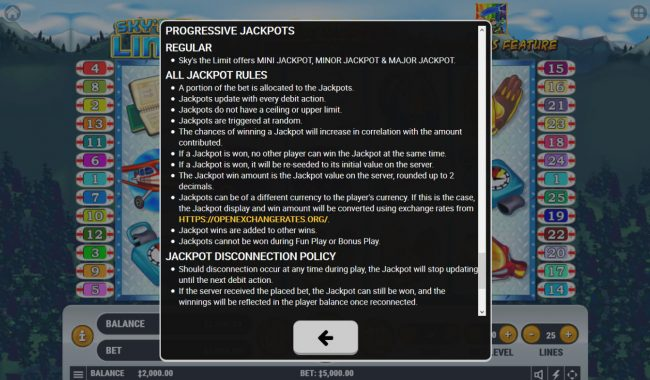 Sky's The Limit :: Progressive Jackpot Rules