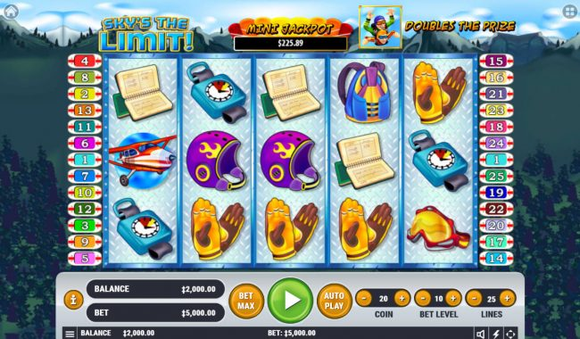 7 Gods Casino featuring the Video Slots Sky's The Limit with a maximum payout of $2,500,000