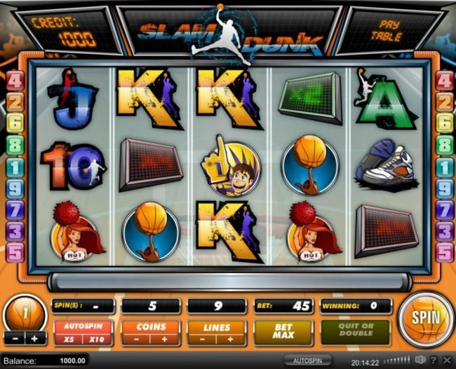 Llama Casino featuring the Video Slots Slam Dunk with a maximum payout of $45,000
