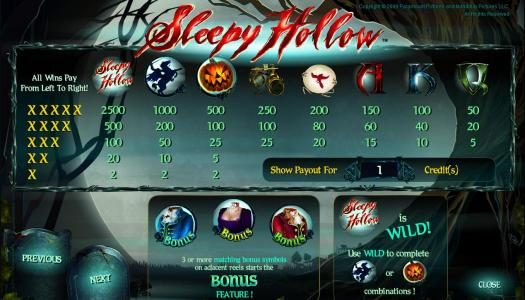 Slot Planet featuring the Video Slots Sleepy Hollow with a maximum payout of 25000x