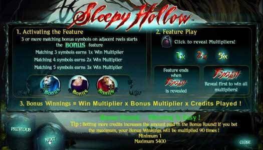 Play slots at Sin Spins: Sin Spins featuring the Video Slots Sleepy Hollow with a maximum payout of 25000x