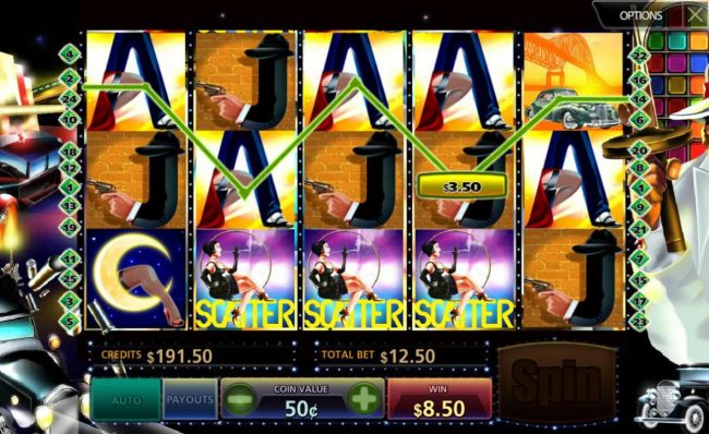 Free Spins feaure triggered by landing 3 scatter symbols anywhere on the reels.