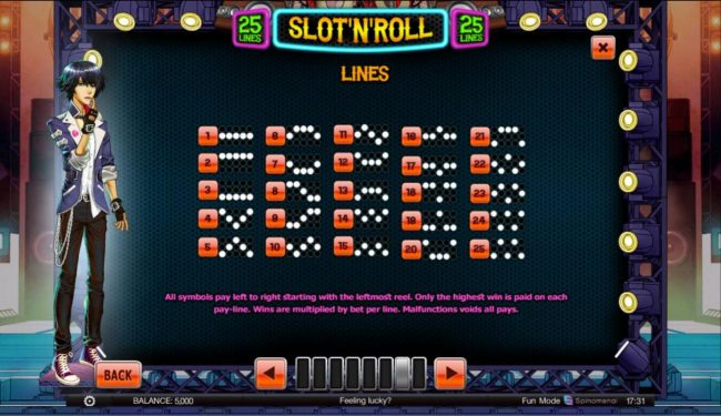 Play slots at Sports and Casino: Sports and Casino featuring the Video Slots Slot 'N' Roll with a maximum payout of $2,500