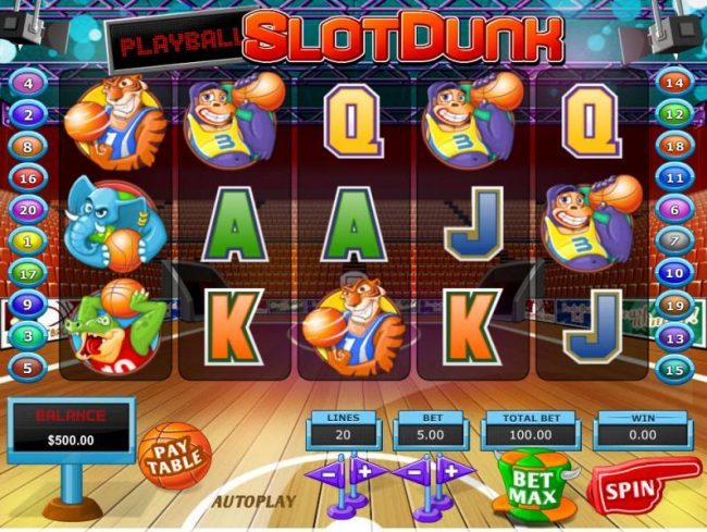 Play slots at TheBesCasino: TheBesCasino featuring the Video Slots Slot Dunk with a maximum payout of $68,000