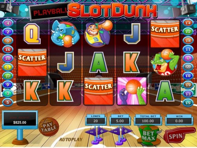 Vive Mon Casino featuring the Video Slots Slot Dunk with a maximum payout of $68,000