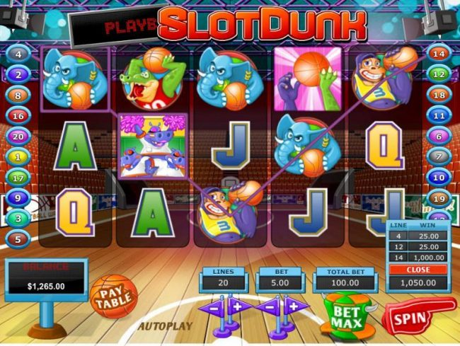 Winward featuring the Video Slots Slot Dunk with a maximum payout of $68,000