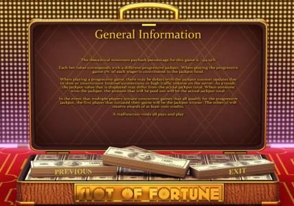 Play slots at Casino Kaiser: Casino Kaiser featuring the Video Slots Slot of Fortune with a maximum payout of $5,000