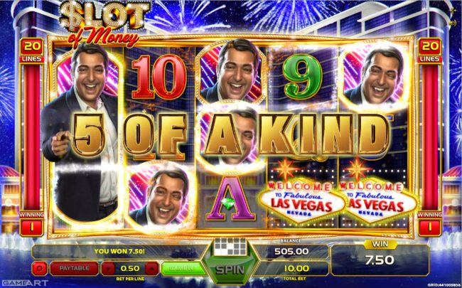 Vegas Crest featuring the Video Slots Slot of Money with a maximum payout of $5,000