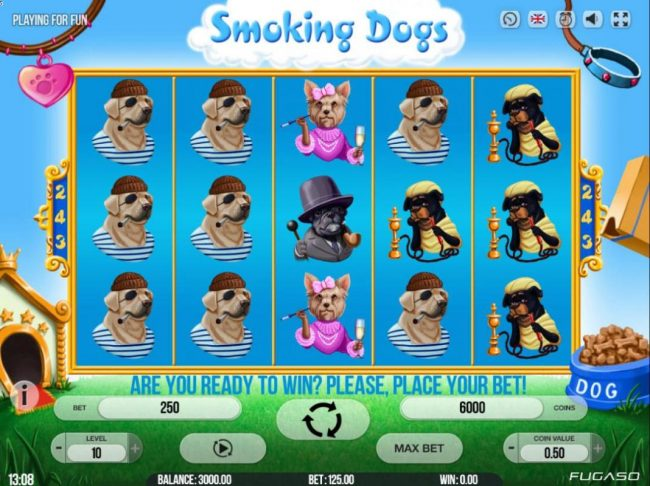 Play slots at Split Aces: Split Aces featuring the Video Slots Smoking Dogs with a maximum payout of $135,000