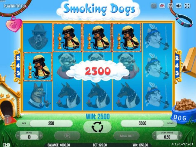 Lord of the Spins featuring the Video Slots Smoking Dogs with a maximum payout of $135,000