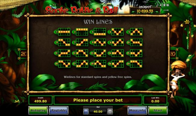 Standard Win Lines 1-20