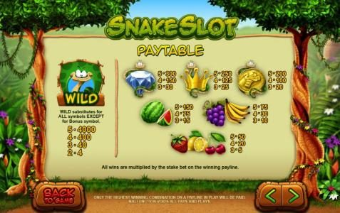 Jackpot Paradise featuring the Video Slots Snake Slot with a maximum payout of $40,000