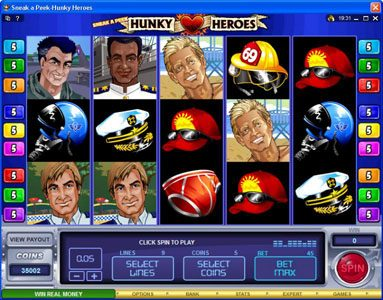 Sun Play featuring the Video Slots Sneak a Peek-Hunky Heroes with a maximum payout of $13,500