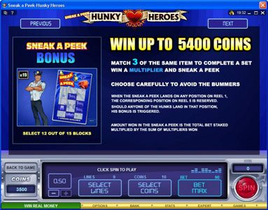 GeoBet featuring the Video Slots Sneak a Peek-Hunky Heroes with a maximum payout of $13,500