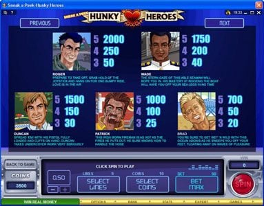 Play slots at Casino Kingdom: Casino Kingdom featuring the Video Slots Sneak a Peek-Hunky Heroes with a maximum payout of $13,500
