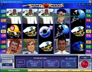 CasinoUK featuring the Video Slots Sneak a Peek-Hunky Heroes with a maximum payout of $13,500
