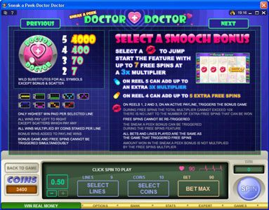 Yeti Casino featuring the Video Slots Sneek a Peek-Doctor Doctor with a maximum payout of $13,500