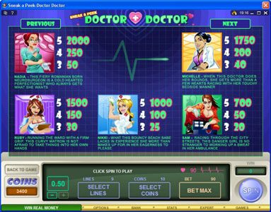 ZigZag777 featuring the Video Slots Sneek a Peek-Doctor Doctor with a maximum payout of $13,500
