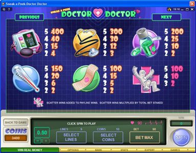 18 Bet featuring the Video Slots Sneek a Peek-Doctor Doctor with a maximum payout of $13,500