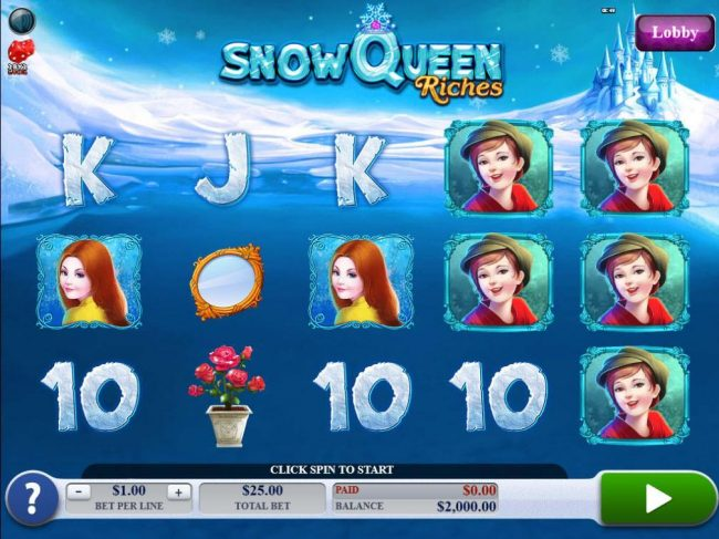 Amsterdam Casino featuring the Video Slots Snow Queen Riches with a maximum payout of $20,000