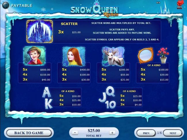 YouWin featuring the Video Slots Snow Queen Riches with a maximum payout of $20,000