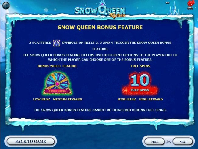 Miami Dice featuring the Video Slots Snow Queen Riches with a maximum payout of $20,000