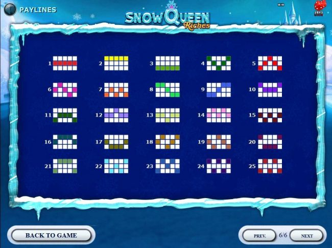Rose Slots featuring the Video Slots Snow Queen Riches with a maximum payout of $20,000