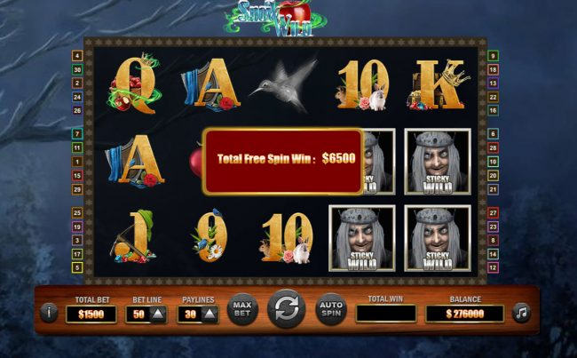 Snow Wild :: Total free games payout 6500 coins
