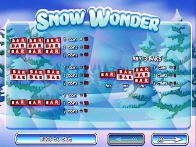 Mayan Fortune featuring the Video Slots Snow Wonder with a maximum payout of $75,000
