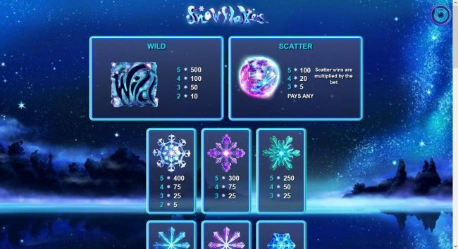 Tivoli featuring the Video Slots Snowflakes with a maximum payout of $10,000
