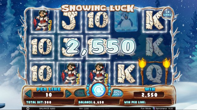 King Billy featuring the Video Slots Snowing Luck with a maximum payout of $60,000