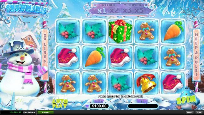 Slotastic featuring the Video Slots Snowmania with a maximum payout of $250,000