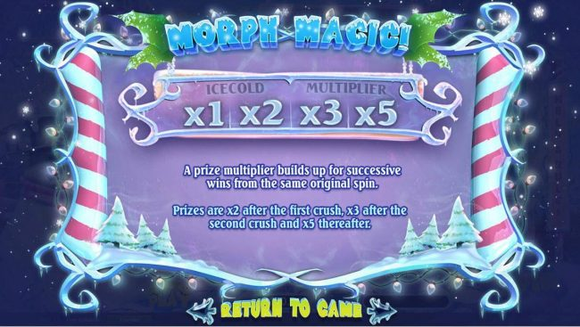 Morph Magic - A prize multiplier builds up for succesive wins from the same original spin. Prizes are x2 after the frist crush, x3 after the 2nd crush and x5 thereafter.